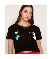 camiseta feminina cropped ursinhos carinhosos manga curta preta