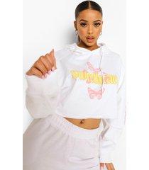 official korte vlinder hoodie, white