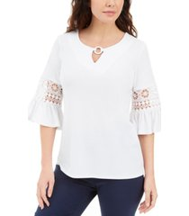 jm collection lace-inset embellished top, created for macy's