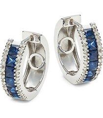 14k white gold, sapphire & diamond earrings