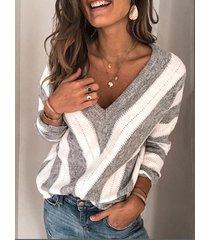 jersey de manga larga con cuello en v y rayas blancas