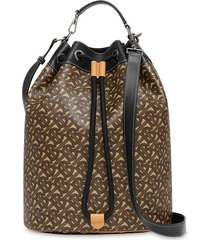 burberry monogram print drawstring bucket bag - brown