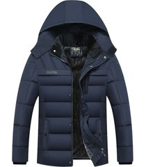 chaqueta hombre invierno capucha gruesa rompeviento 258 azul
