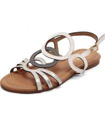 sandalia plana en cuero blanco-plata versilia braynin