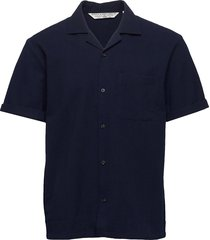 hawaii fit- shortsleeve seersucker shirt overhemd met korte mouwen blauw scotch & soda