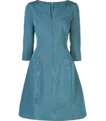 oscar de la renta split-neck taffeta a-line dress - blue