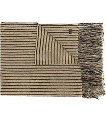 saint laurent striped long-length scarf - gold