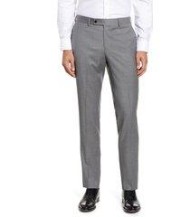 men's nordstrom men's shop trim fit wool blend dress pants, size 38 x - grey