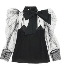 red valentino taffeta and point desprit tulle blouse