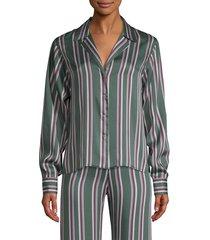 alexis women's samwell striped satin button-front shirt - green - size s