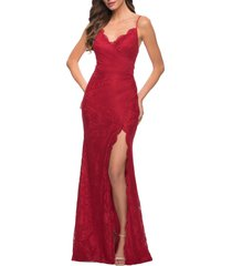 women's la femme strappy back lace gown, size 4regular - red