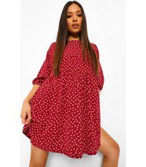petite geweven gesmokte jurk met stippen, berry