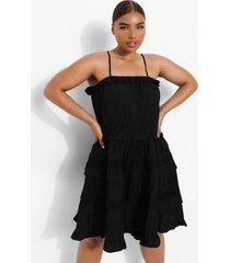 plus gehaakte skater jurk met bandjes, black