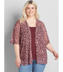 lane bryant women's kimono-sleeve mesh overpiece 38/40 multi burgundy print