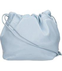 jil sander drawstring shoulder bag in blue leather