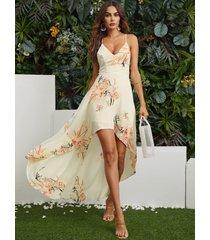 estampado floral al azar blanco sin respaldo diseño cabestro vestido con dobladillo alto-bajo