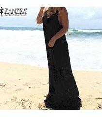 zanzea vestido de encaje para mujer 2018 verano casual vestido largo largo suelto vestidos de playa sexy sin mangas vestidos sólidos tallas grandes xs-5xl negro -negro