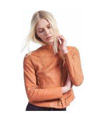 jaqueta de couro navalhada color laranja bronze - 44