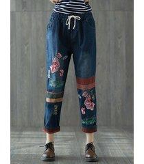 pantaloni in denim in ricamo con coulisse con elastico in vita