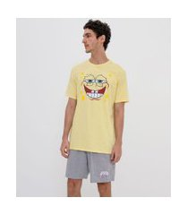pijama curto estampado bob esponja | bob esponja | amarelo | gg