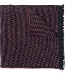 canali embroidered logo fringe scarf