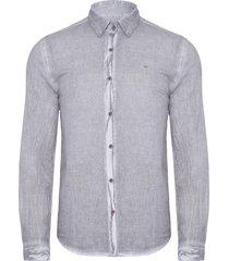 camisa masculina logo - cinza
