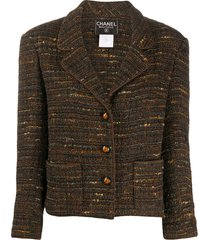 chanel pre-owned 1998 straight woven jacket - brown