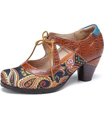 socofy vintage paisley splicing leather cutout lace up chunky heel décolleté