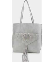 tanya perforated wide tote - light gray
