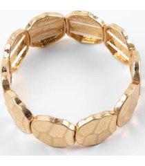 athena hammered metal stretch bracelet - gold