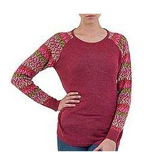 cotton blend sweater, 'garden vine in wine' (peru)