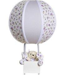 abajur balãozinho ursa potinho de mel lilás