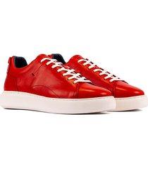 tenis casuales de moda 100% cuero  anaranjado de-8321-3435ov