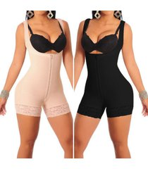 women's full body shaper zip compression strappy waist trainer corset shapewear