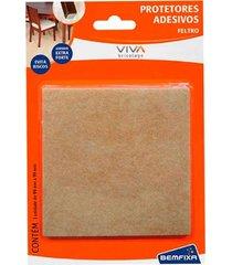 protetor adesivo para móveis bemfixa, feltro quadrado, 99 x 99 mm, 1 peça