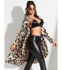 yoins caqui con cordones diseño animal deep v cuello abrigo de manga larga