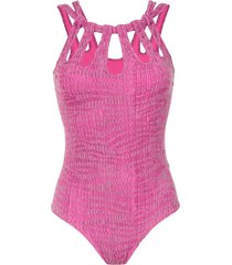 amir slama textured swimsuit - pink