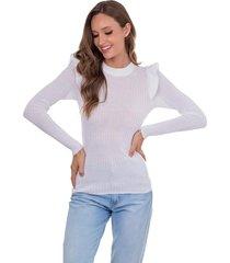 blusa myah antonieta branco em tricô