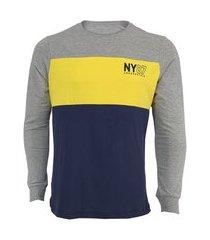 camiseta aeropostale masculina manga longa ny87 cinza/amarela/azul