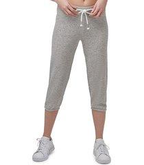 marc new york performance women's beach fleece cropped drawstring pants - antique denim - size l