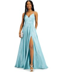 b darlin juniors' v-neck glitter ball gown with pockets, created for macy's