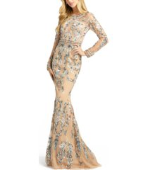 mac duggal embellished illusion-sleeve gown