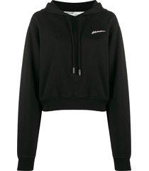 off-white woman print hoodie - black