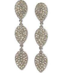 inc silver-tone pave leaf linear drop earrings, created for macy's