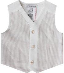 armani collezioni biege and white vest for baby boy with iconic eagle
