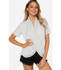 gris cruzado frontal diseño fashion mujer camisetas