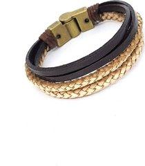 pulseira de couro bege e marrom
