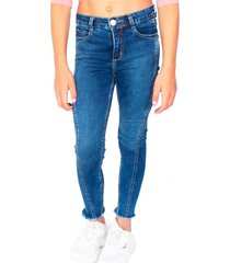 jeans basta desflecada cortes azul cacao