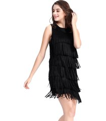 vestido corto flecos negro nicopoly