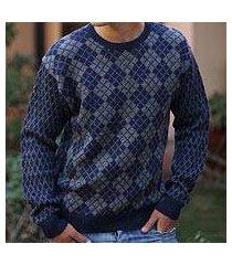 men's alpaca blend sweater, 'blue argyle' (peru)